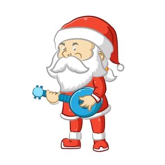 Санта-клаус с длинной белой бородой держит синее банджо