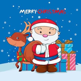 Дед мороз с оленями готов раздать рождественские подарки вектор премиум