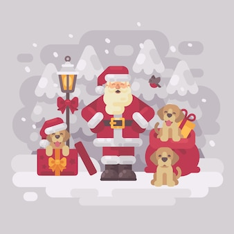 Santa claus with three puppies