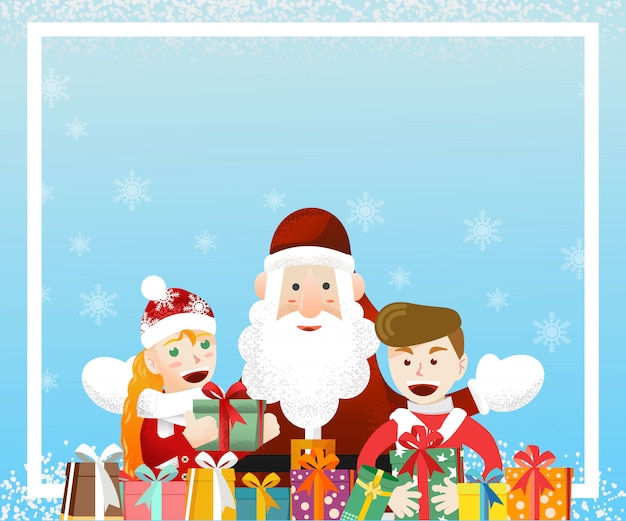 Santa claus with two kids with christmas gifts background template
