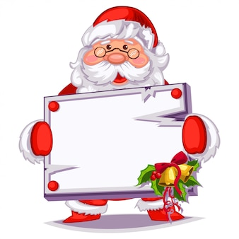 Santa claus with a white wooden sign board