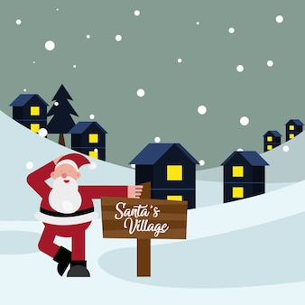 Santa claus with wooden label in winter scene christmas character vector illustration design