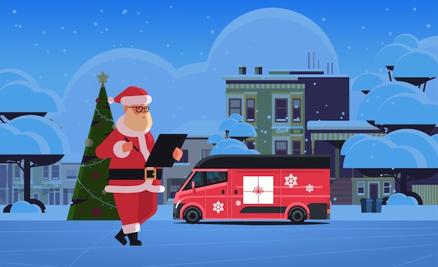 サンタクロースは、配達バンメリークリスマス冬の休日のお祝いの概念の近くのクリップボードに書き込みます夜の街の通り街並み水平フラットベクトル図