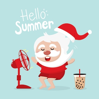 Santa claus, yellow duck rubber ring and electric fan in summer