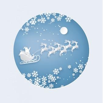 Дед Мороз и олень на небе