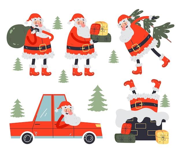 산타 클로스 캐릭터 디자인 요소 컬렉션 만화 손으로 그린 그림
