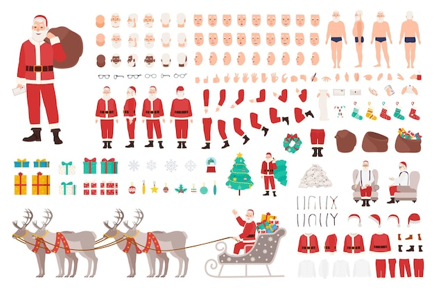 Santa clause constructor or diy kit. collection of christmas cartoon character body parts, clothes, holiday attributes isolated on white background. front, side, back view. vector illustration.