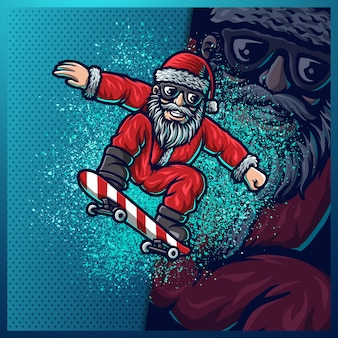 Santa clause play skateboard in the christmas snow