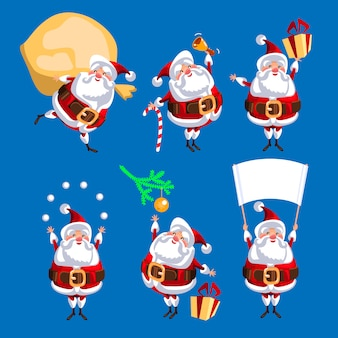 Santa clauses set for christmas. vector illustration. isolated on blue background