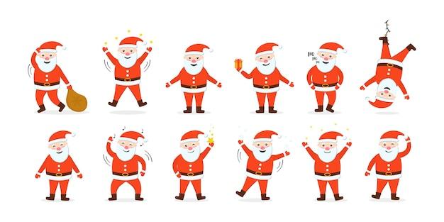 Набор дедов морозов готов к новому году и рождеству. сборник забавных мультяшных персонажей с разными эмоциями и новогодними предметами. мультяшный праздник движущихся персонажей.