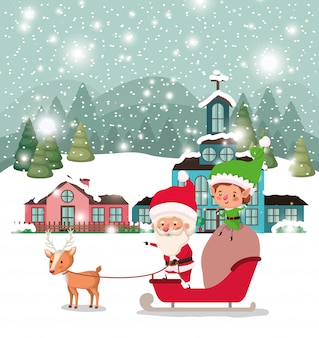 Santa clous and helper with sled
