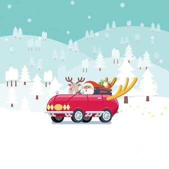Santa cluas ans reindeer driving red car in snowy landscape in flat cartoon style