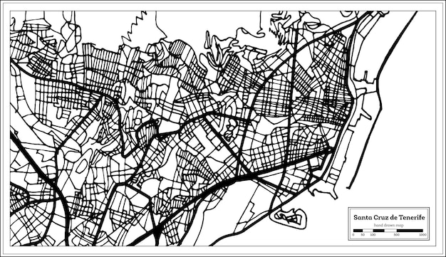 レトロなスタイルのサンタクルスデテネリフェスペインの都市地図。白地図。ベクトルイラスト。