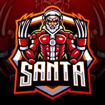 Санта-киборг-талисман. киберспорт дизайн логотипа
