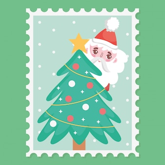 Santa and decorative tree star balls merry christmas stamp