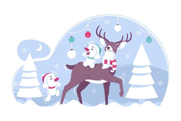 산타 사슴과 귀여운 눈사람 그림 배경