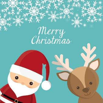 Santa and deer cartoon icon.