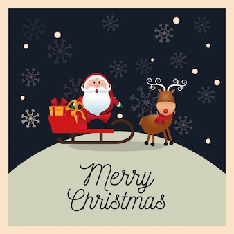 Santa and deer cartoon with sled icon