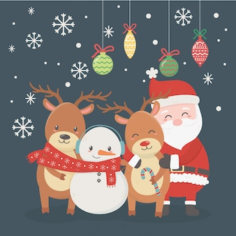 Santa, deers, snowman and balls illustration