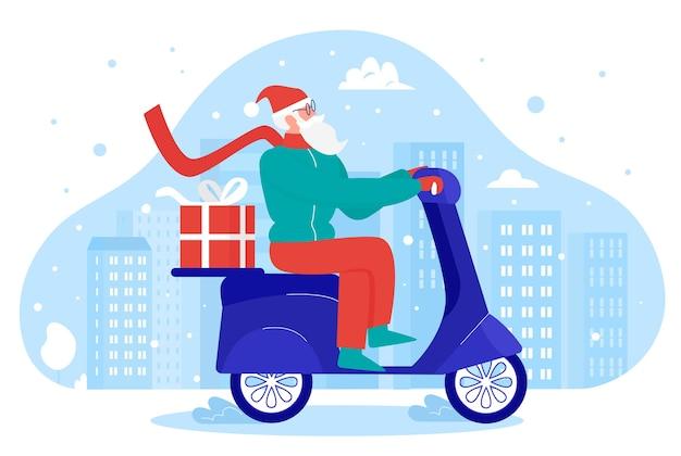 Санта доставляет подарки