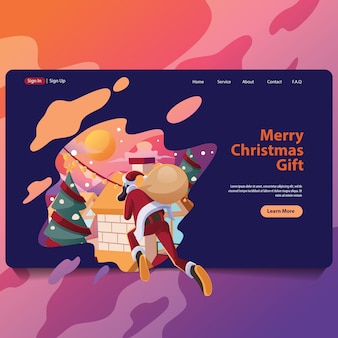 Santa delivery for christmas present landing page illustarion
