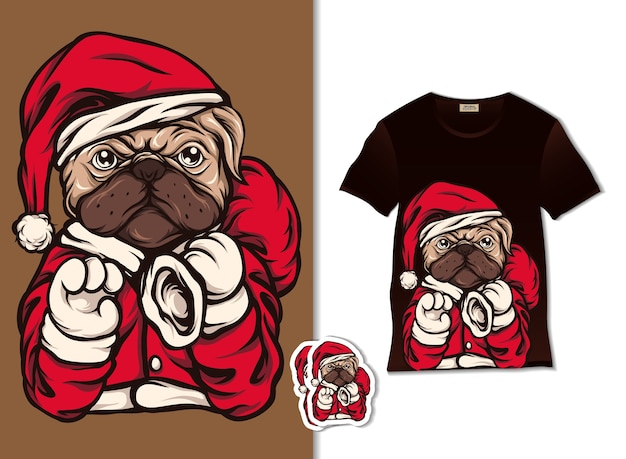 Santa dog illustration