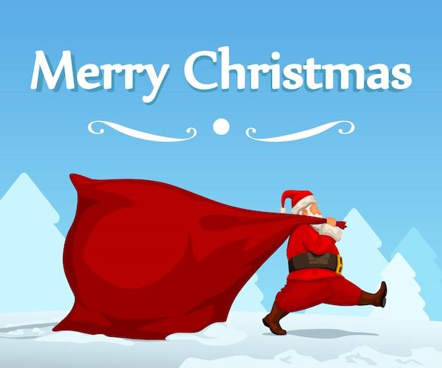 Santa dragging bag