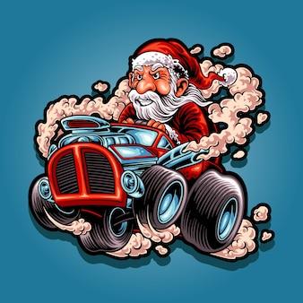 Santa drives a hot rod car