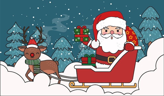 Santa driving the present carriage with reindeer  illustration.
