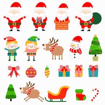 Санта и эльф плоский клипарт, с рождеством христовым коллекции