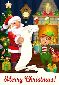 Santa and elf greeting card of christmas winter holidays. claus with helper reading xmas wish list, gift boxes, christmas tree and fireplace, star, socks and candles, balls, ribbon bows, clock
