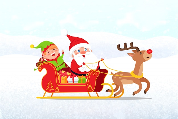 Santa, elf riding on sleigh, drawn by deer