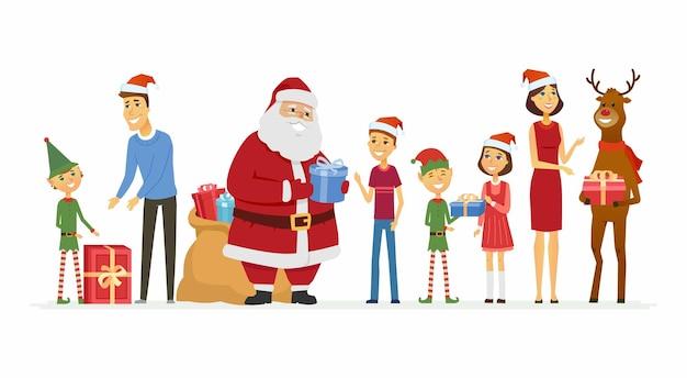 サンタ、エルフ、トナカイは家族を祝福します-漫画のキャラクターは白い背景のイラストを分離しました。プレゼントの袋と彼の仲間と笑顔の父フロストは両親と子供たちにプレゼントを与えます