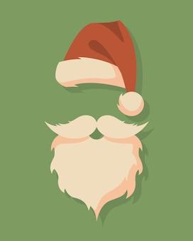 帽子、口ひげ、あごひげを生やしたサンタの顔。クリスマスサンタのデザイン要素。休日のアイコン