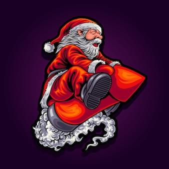 Santa flies on a fireworks rocket