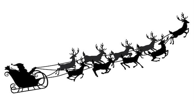 サンタさんがトナカイとそりを飛んでいます。図。オブジェクト。