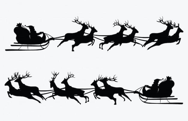 Санта летит в санях с оленями. иллюстрации. объект.