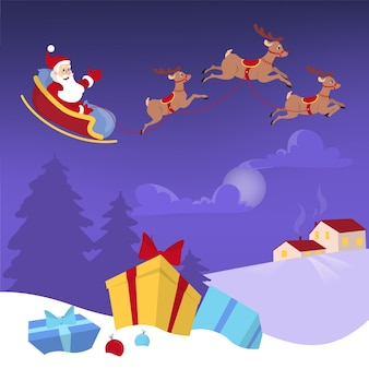 プレゼントとトナカイがいっぱい入ったバッグをそりで飛ぶサンタ。トウヒのシルエットの夜空。クリスマスと新年のお祝い。前面に雪のギフトボックス。図