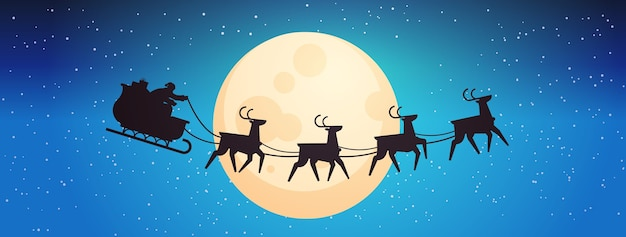 Santa flying in sledge with reindeers in night sky over moon happy new year merry christmas banner winter holidays concept horizontal vector illustration
