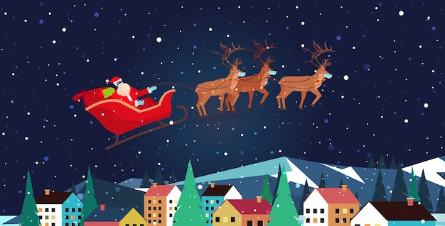Santa flying in sledge with reindeers in night sky over village houses happy new year merry christmas banner winter holidays concept greeting  horizontal  illustration