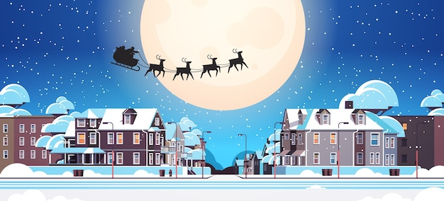 Santa flying in sledge with reindeers in night sky over village houses happy new year merry christmas banner winter holidays concept horizontal vector illustration