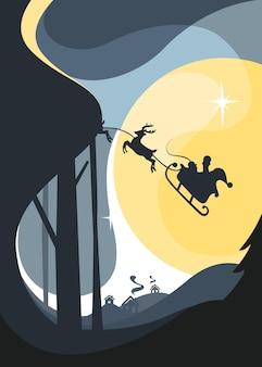 Santa flying in sleigh with reindeers in night sky. christmas placard design.