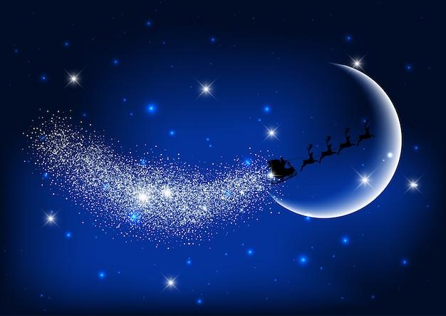 Santa vola attraverso il cielo notturno