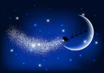 Santa flying through the night sky