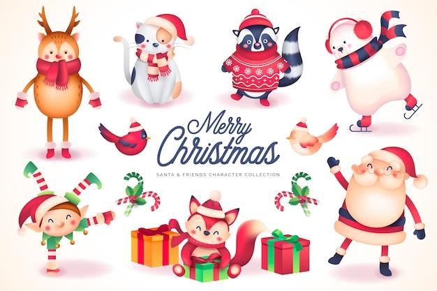 Коллекция персонажей santa & friends