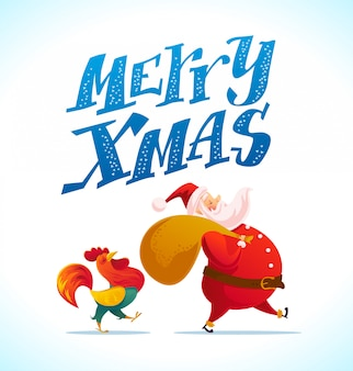 Santa and funny rooster characters portrait on white background. cartoon style. new year, merry christmas, xmas congratulation  element. good for holiday card, , flayer, .