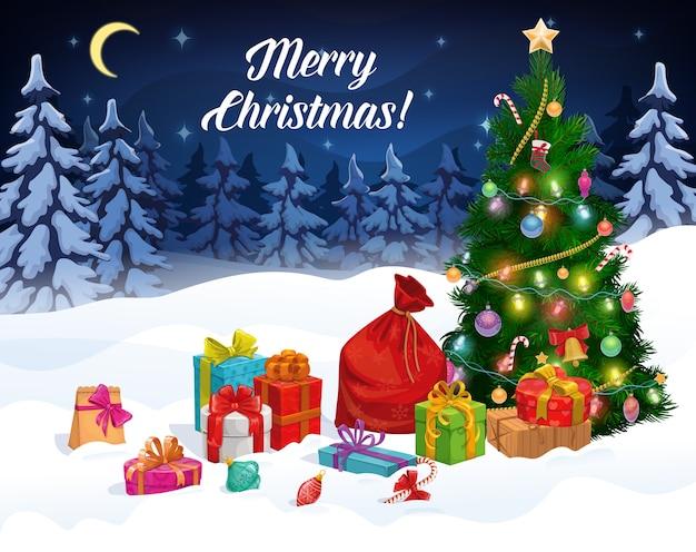 Санта подарочная сумка рождественские подарочные коробки и елка