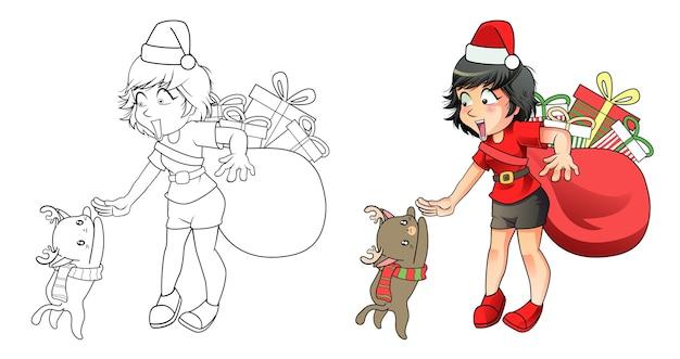 아이들을위한 페이지를 쉽게 색칠하는 산타 소녀와 순록 고양이 만화