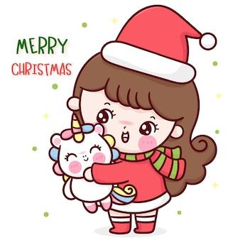 산타 소녀 크리스마스 포옹 유니콘 만화 귀여운 캐릭터