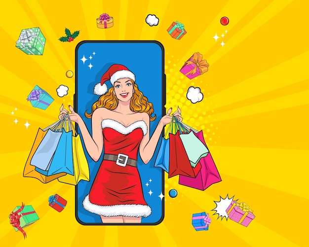 Девушка санта держит сумки, делая покупки онлайн на концепции смартфона в ретро винтажном стиле поп-арт комиксов